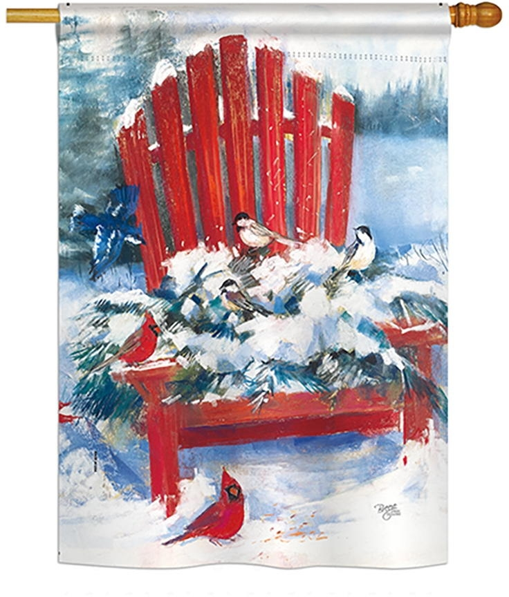 Red Chair in Winter House Flag