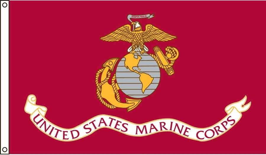 Marine Corps US Made, High Wind Flag 3' x 5'