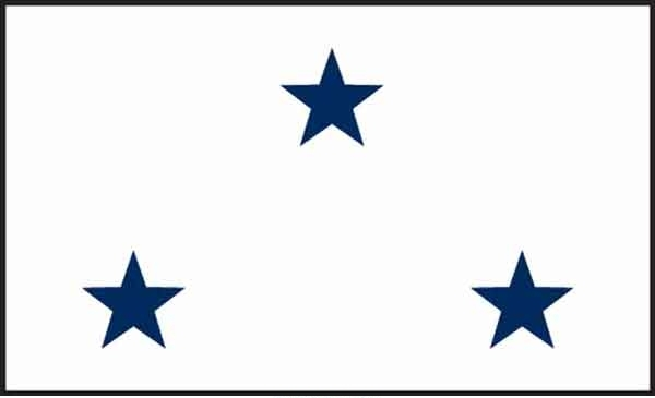 3' x 5' 3 Star Non-Seagoing Navy High Wind, US Made Flag