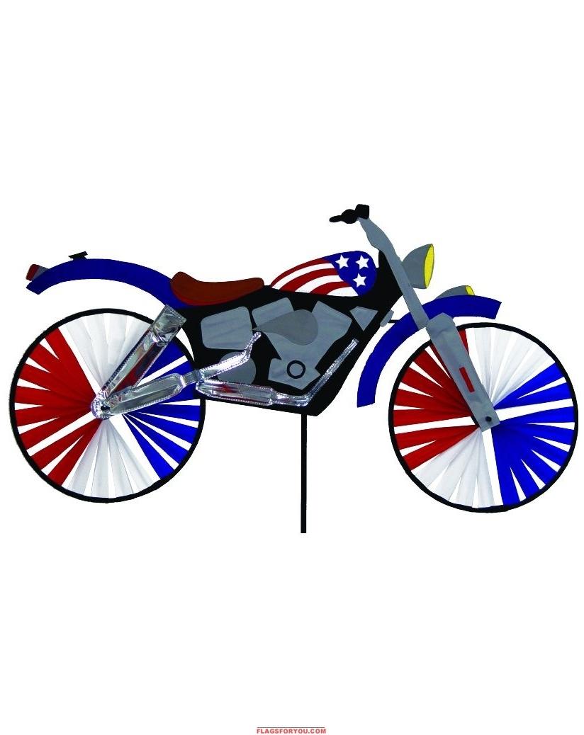 "USA Motorcycle Applique Windwheel 20"" x 49"""