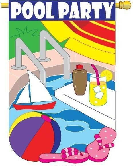 Pool Party House Flag