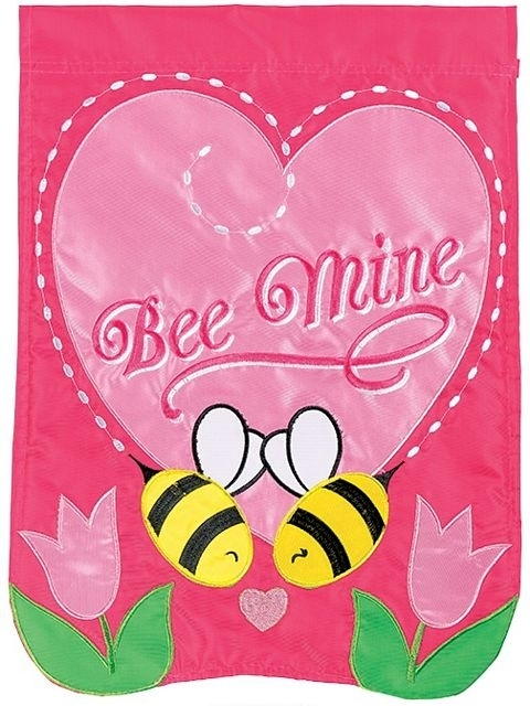 Bee Mine Flops Double Applique House Flag