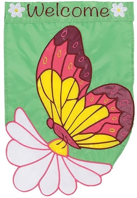 Daisy Butterfly Single Applique Garden Flag