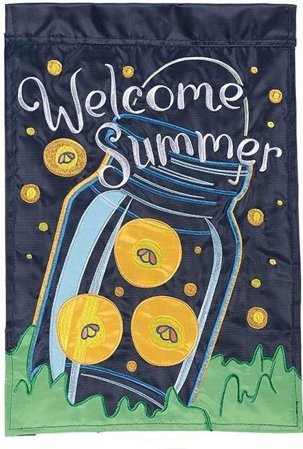 Summer Fireflies Double Applique House Flag