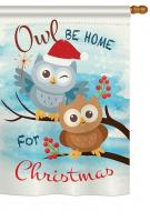 Owl Xmas House Flag