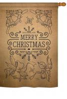 Merry Christmas Bells Burlap House Flag