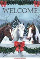 Horses In The Snow Garden Flag