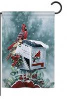 Christmas Cardinals Garden Flag