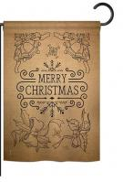 Merry Christmas Bells Burlap Garden Flag
